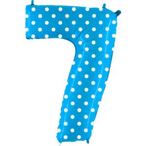 K0107. Balon foliowy w kształcie cyfry 7 w kolorze niebieski w białe grochy