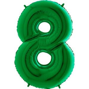K0128. Balon foliowy w kształcie cyfry 8 w kolorze zielony