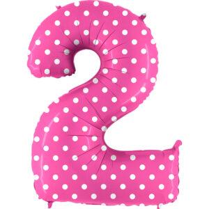 K0072. Balon foliowy w kształcie cyfry 2 w kolorze różowy w białe grochy