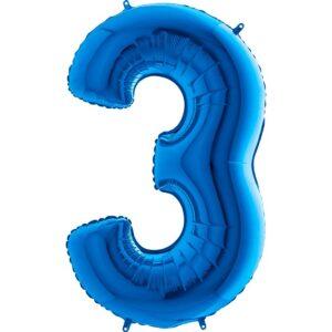 K0093. Balon foliowy w kształcie cyfry 3 w kolorze niebieski / granatowy