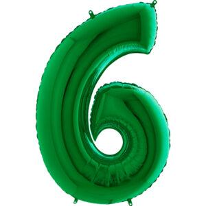 K0126. Balon foliowy w kształcie cyfry 6 w kolorze zielony