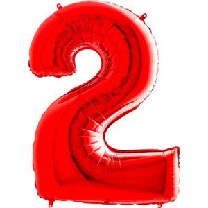 K0142. Balon foliowy w kształcie cyfry 2 w kolorze czerwony