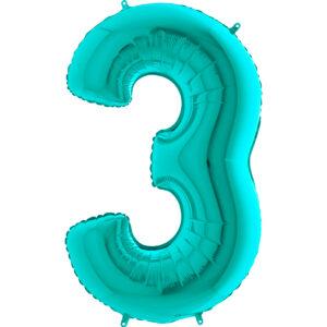 K0113. Balon foliowy w kształcie cyfry 3 w kolorze morski turkusowy