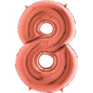 K0048. Balon foliowy w kształcie cyfry 8 w kolorze rose gold / różowe złoto