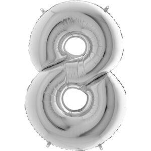 K0018. Balon foliowy w kształcie cyfry 8 w kolorze srebrnym