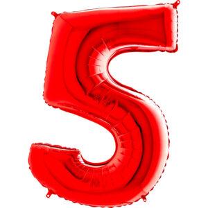 K0145. Balon foliowy w kształcie cyfry 5 w kolorze czerwony