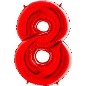 K0148. Balon foliowy w kształcie cyfry 8 w kolorze czerwony