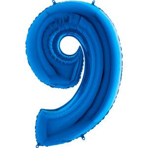 K0099. Balon foliowy w kształcie cyfry 9 w kolorze niebieski / granatowy