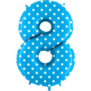 K0108. Balon foliowy w kształcie cyfry 8 w kolorze niebieski w białe grochy