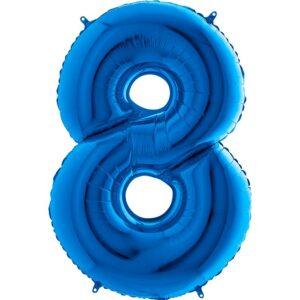 K0098. Balon foliowy w kształcie cyfry 8 w kolorze niebieski / granatowy