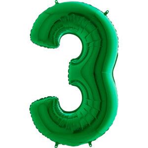K0123. Balon foliowy w kształcie cyfry 3 w kolorze zielony
