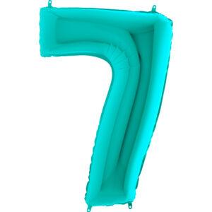 K0117. Balon foliowy w kształcie cyfry 7 w kolorze morski turkusowy