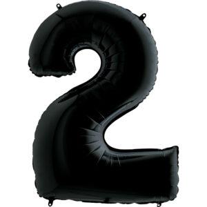 K0132. Balon foliowy w kształcie cyfry 2 w kolorze czarny