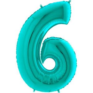 K0116. Balon foliowy w kształcie cyfry 6 w kolorze morski turkusowy