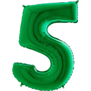 K0125. Balon foliowy w kształcie cyfry 5 w kolorze zielony