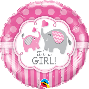 Ma04. Balon 18 cali (43 cm) na narodziny dziewczynki – słoniki