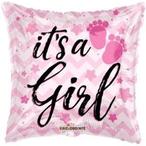 Ma16. Balon 18 cali (43 cm) na narodziny dziewczynki – z nadrukiem It's a Girl