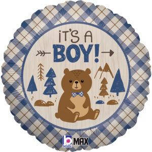 Ma39. Balon 18 cali (43 cm) na narodziny chłopca – z niedźwiedziem