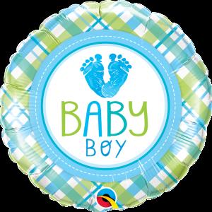 Ma33. Balon 18 cali (43 cm) na narodziny chłopca – Baby Boy stópki