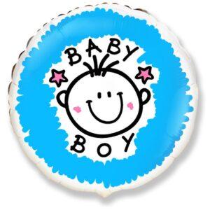 Ma41. Balon 18 cali (43 cm) na narodziny chłopca – wesołą buzia