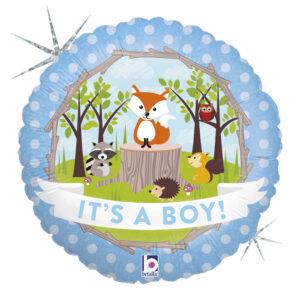 Ma43. Balon 18 cali (43 cm) na narodziny chłopca – leśne zwierzęta