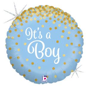 """Ma34. Balon 18 cali (43 cm) na narodziny chłopca – It's a Boy ze """"złotym konfetti"""""""