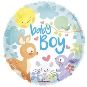 Ma44. Balon 18 cali (43 cm) na narodziny chłopca – zwierzątka z lasu