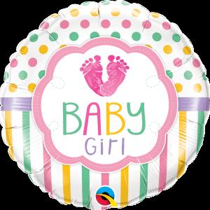 Ma09. Balon 18 cali (43 cm) na narodziny dziewczynki – stópki dziecka