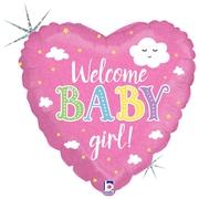 Ma12. Balon 18 cali (43 cm) na narodziny dziewczynki – Welcome Baby Girl! serduszko