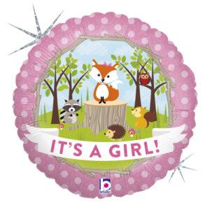 Balony z helem na narodziny dziewczynki ze zwierzątkami leśnymi
