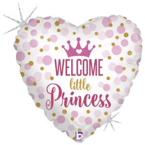 Ma13. Balon 18 cali (43 cm) na narodziny dziewczynki – Welcome Little Princess serce