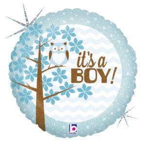 Ma35. Balon 18 cali (43 cm) na narodziny chłopca – It's a Boy z sową