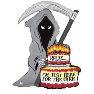 La11. Duży balon foliowy na urodziny w kształcie śmierci z tortem z napisem Happy BirthDay 89 cm