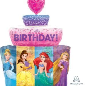 La19. Balon foliowy na urodziny w kształcie tortu z księżniczkami 53/71 cm