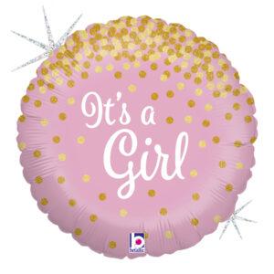 """Ma14. Balon 18 cali (43 cm) na narodziny dziewczynki – różowy ze złotym """"konfetti"""""""