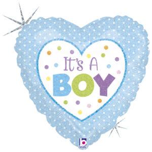 Ma36. Balon 18 cali (43 cm) na narodziny chłopca – niebieskie serce