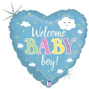 Ma37. Balon 18 cali (43 cm) na narodziny chłopca – Welcome Baby Boy!