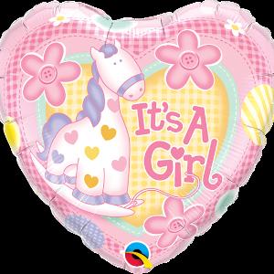 Ma07. Balon 18 cali (43 cm) na narodziny dziewczynki – serce i żyrafa