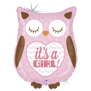 Ma20. Duży balon w kształcie różowej sowy It's a Girl 66 cm