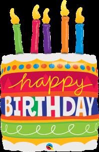 La05. Duży balon foliowy na urodziny w kształcie dużego tortu z napisem Happy BirthDay 90 cm