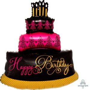 La03. Duży balon foliowy na urodziny w kształcie pięknego tortu z napisem Happy BirthDay 75 cm