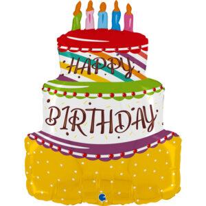 La04. Duży balon foliowy na urodziny w kształcie kolorowego tortu z napisem Happy BirthDay 69 cm