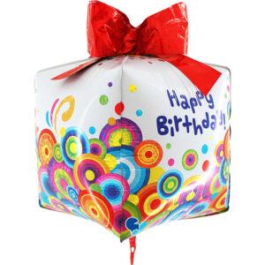 La02. Duży balon foliowy na urodziny w kształcie prezentu z napisem Happy BirthDay 76 cm