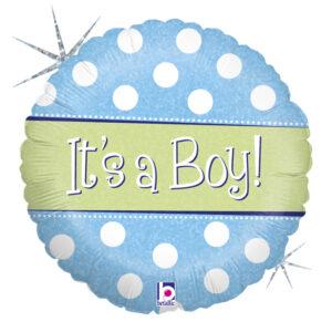 Ma38. Balon 18 cali (43 cm) na narodziny chłopca – It's a Boy w grochy
