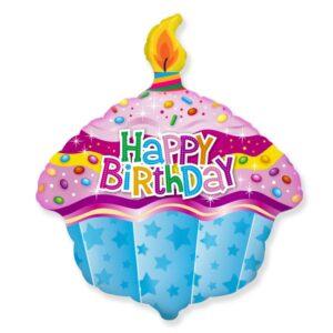 La13. Balon foliowy na urodziny w kształcie babki ze świeczką z napisem Happy BirthDay 59/50 cm