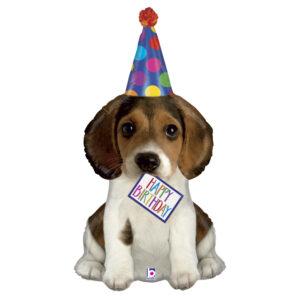 La06. Duży balon foliowy na urodziny w kształcie psa z napisem Happy BirthDay 75 cm