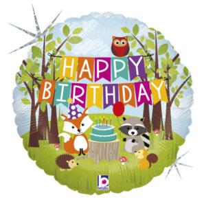 L0084. Balon foliowy z helem na urodziny 18″ cali (43 cm) – zwierzęta leśne