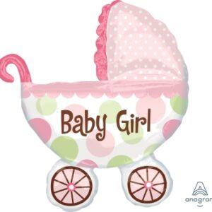 Ma22. Duży balon w kształcie różowego wózka 71/79 cm