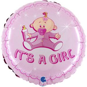 Ma01. Balon 18 cali (43 cm) na narodziny dziewczynki – różowy bobas