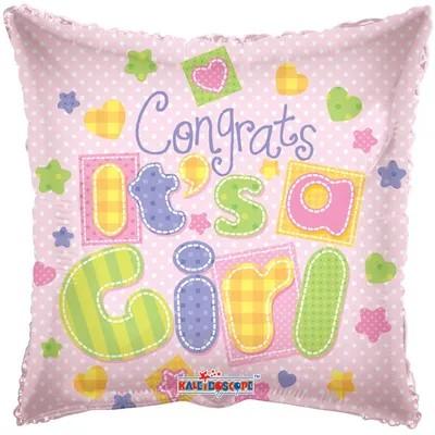 Balon z gratulacjami na narodziny córeczki